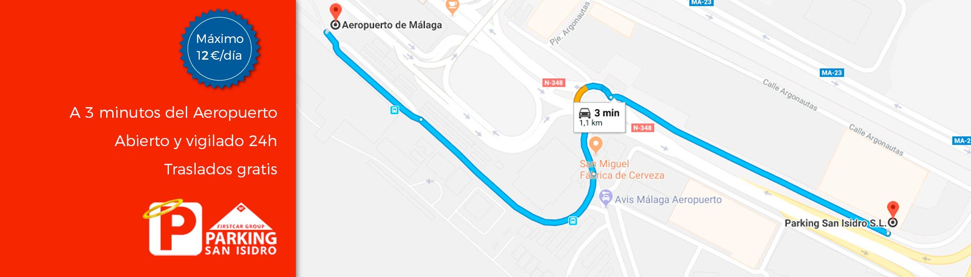 como llegar al parking san isidro aeropuerto malaga